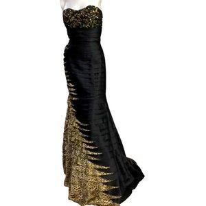 Clarisse Size 8 Black/Leopard Print Mermaid Gown